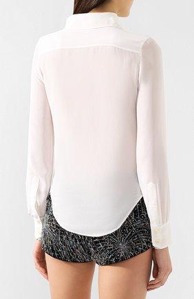 Женская шелковая рубашка SAINT LAURENT белого цвета, арт. 568623/Y059R | Фото 4