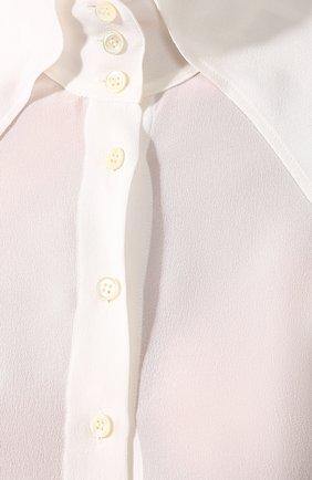 Женская шелковая рубашка SAINT LAURENT белого цвета, арт. 568623/Y059R | Фото 5