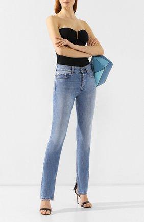 Женские джинсы с разрезами GANNI голубого цвета, арт. F3632 | Фото 2