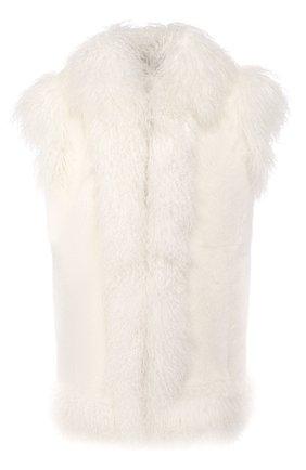 Женский меховой жилет DOLCE & GABBANA белого цвета, арт. I0551W/FUPLH | Фото 1
