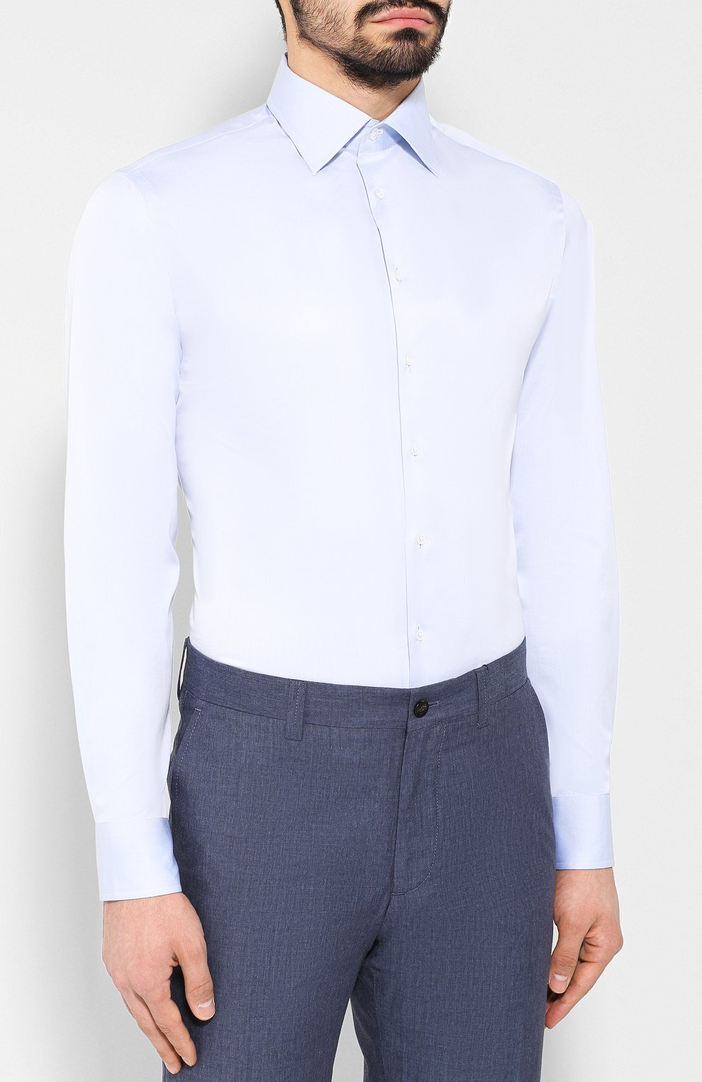 Мужская хлопковая сорочка с воротником кент GIORGIO ARMANI голубого цвета, арт. 8WGCCZMR/TZ262   Фото 3