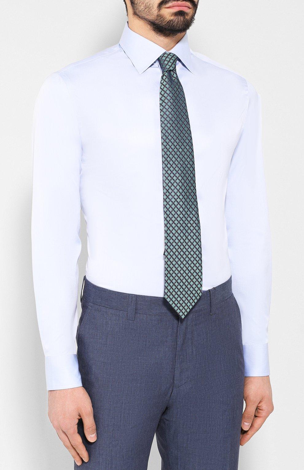 Мужская хлопковая сорочка с воротником кент GIORGIO ARMANI голубого цвета, арт. 8WGCCZMR/TZ262   Фото 4