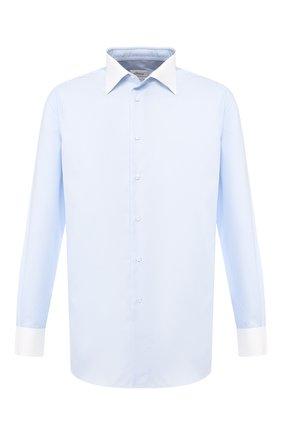 Мужская хлопковая рубашка с воротником кент BRIONI голубого цвета, арт. RCLU2L/P806H | Фото 1