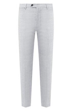 Мужские брюки из смеси шерсти и шелка ANDREA CAMPAGNA светло-серого цвета, арт. ZIP/1 WHITE/LP183U | Фото 1 (Длина (брюки, джинсы): Стандартные; Материал внешний: Шерсть; Случай: Формальный; Стили: Классический; Статус проверки: Проверено, Проверена категория)