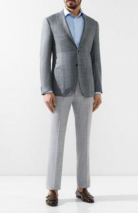 Мужские брюки из смеси шерсти и шелка ANDREA CAMPAGNA светло-серого цвета, арт. ZIP/1 WHITE/LP183U | Фото 2 (Длина (брюки, джинсы): Стандартные; Материал внешний: Шерсть; Случай: Формальный; Стили: Классический; Статус проверки: Проверено, Проверена категория)