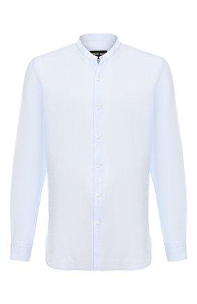 Мужская льняная рубашка GIORGIO ARMANI голубого цвета, арт. 9SGCCZ13/TZ243 | Фото 1