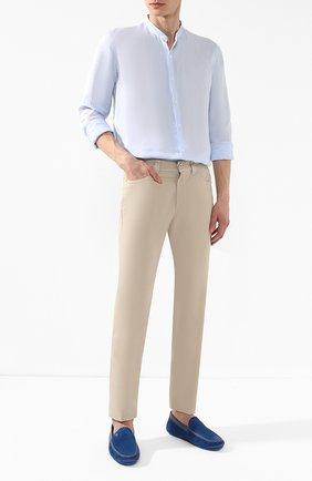 Мужская льняная рубашка GIORGIO ARMANI голубого цвета, арт. 9SGCCZ13/TZ243 | Фото 2