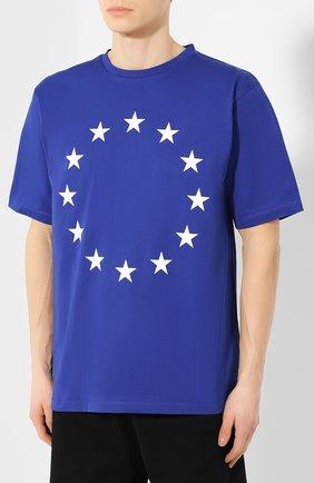 Хлопковая футболка Études синяя | Фото №3