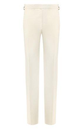 Мужской брюки из смеси шелка и льна TOM FORD кремвого цвета, арт. 573R21/610043 | Фото 1