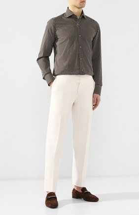 Мужской брюки из смеси шелка и льна TOM FORD кремвого цвета, арт. 573R21/610043 | Фото 2