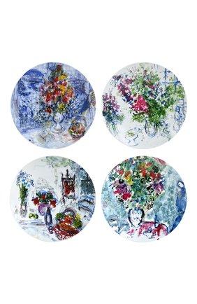 Мужского набор из 4-х салатных тарелок les bouquets de fleurs de marc chagall BERNARDAUD разноцветного цвета, арт. 1828/17-4 | Фото 1