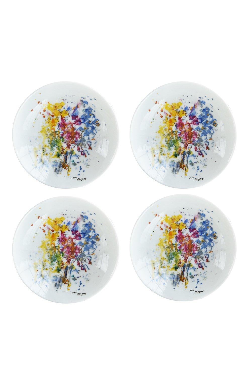 Мужская набор из 4-х розеток les bouquets de fleurs de marc chagall BERNARDAUD разноцветного цвета, арт. 1828/22738 | Фото 1