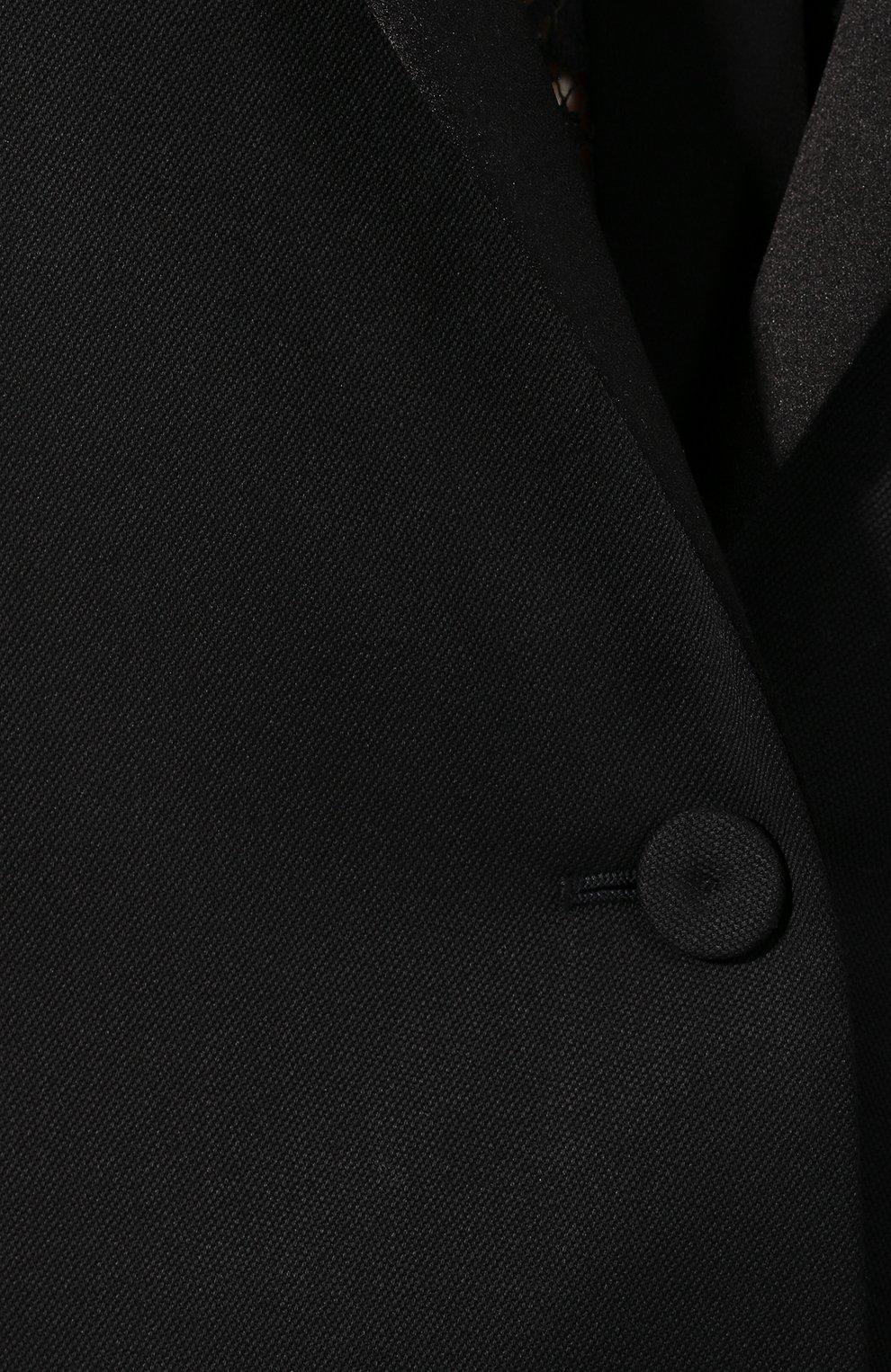 Шерстяной жакет Bottega Veneta черный | Фото №5