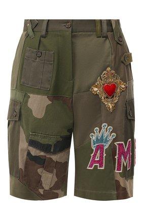 Женские хлопковые шорты DOLCE & GABBANA хаки цвета, арт. FTBETZ/FP6L1 | Фото 1