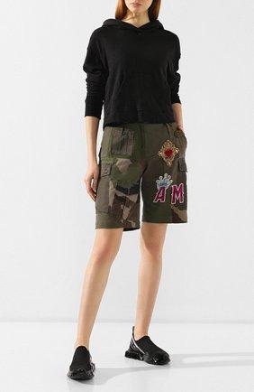 Женские хлопковые шорты DOLCE & GABBANA хаки цвета, арт. FTBETZ/FP6L1 | Фото 2