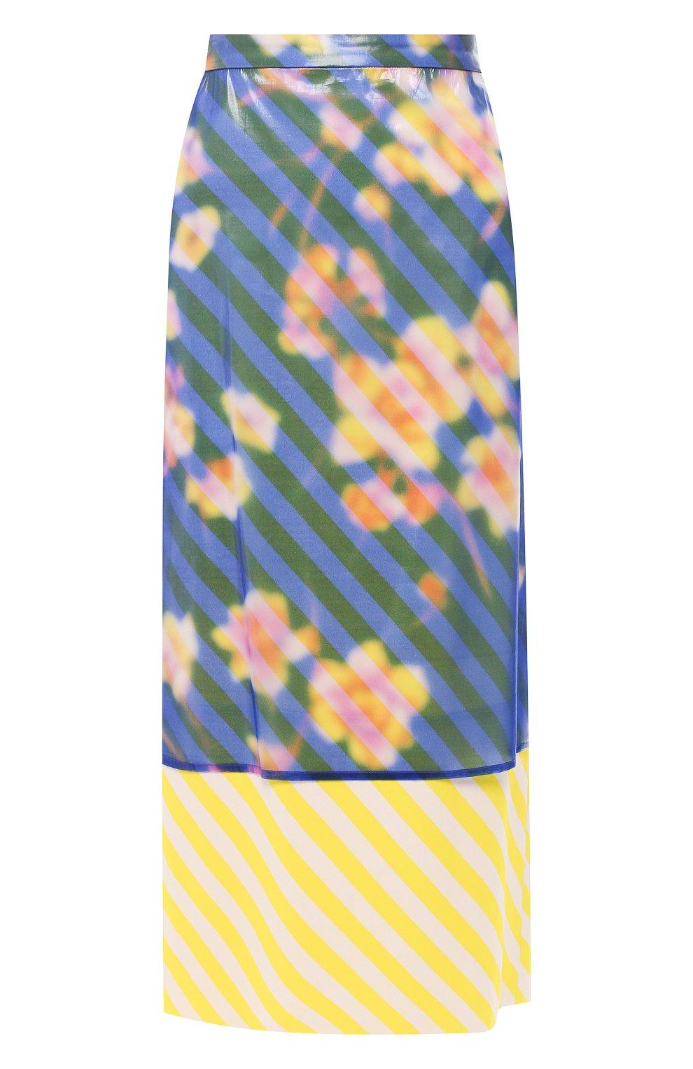 Женская юбка-миди DRIES VAN NOTEN синего цвета, арт. 191-10855-7102 | Фото 1 (Материал внешний: Шелк, Синтетический материал; Длина Ж (юбки, платья, шорты): Миди; Статус проверки: Проверено)