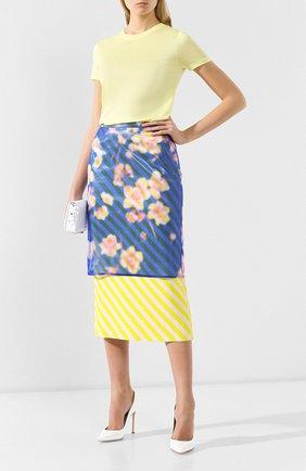 Женская юбка-миди DRIES VAN NOTEN синего цвета, арт. 191-10855-7102 | Фото 2 (Материал внешний: Шелк, Синтетический материал; Длина Ж (юбки, платья, шорты): Миди; Статус проверки: Проверено)