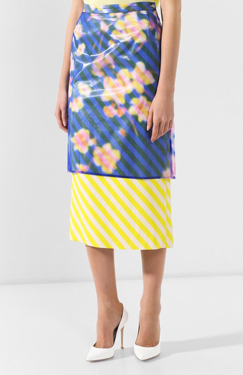 Женская юбка-миди DRIES VAN NOTEN синего цвета, арт. 191-10855-7102 | Фото 3 (Материал внешний: Шелк, Синтетический материал; Длина Ж (юбки, платья, шорты): Миди; Статус проверки: Проверено)