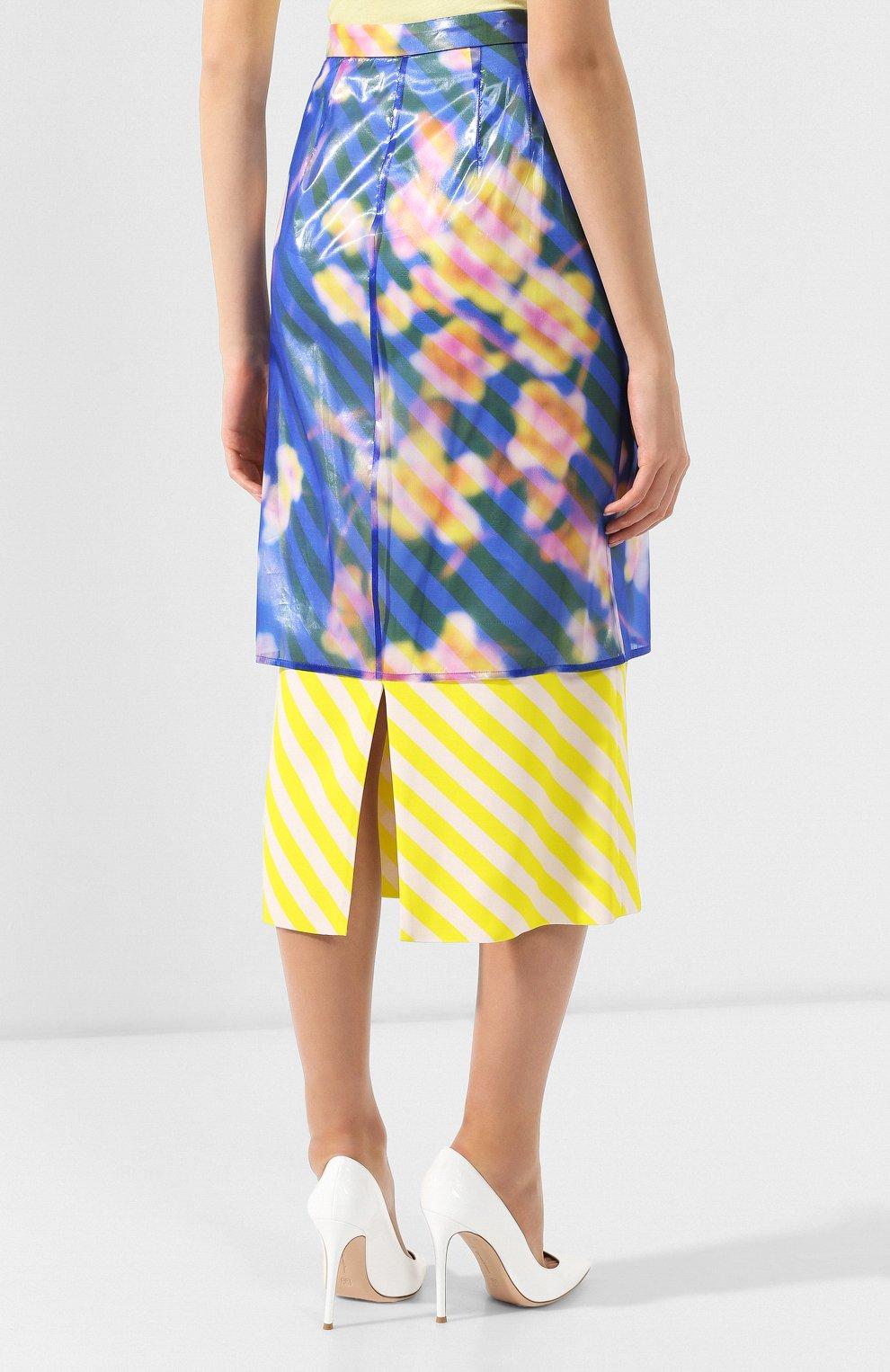 Женская юбка-миди DRIES VAN NOTEN синего цвета, арт. 191-10855-7102 | Фото 4 (Материал внешний: Шелк, Синтетический материал; Длина Ж (юбки, платья, шорты): Миди; Статус проверки: Проверено)