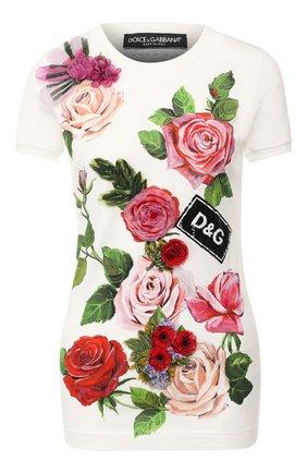Женская хлопковая футболка DOLCE & GABBANA белого цвета, арт. F8H32Z/HH7M4 | Фото 1