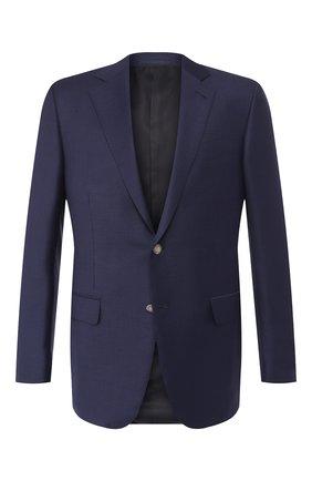 Мужской шерстяной пиджак ERMENEGILDO ZEGNA темно-синего цвета, арт. 552525/121220   Фото 1