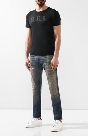Мужская хлопковая футболка RRL черного цвета, арт. 782726323 | Фото 2