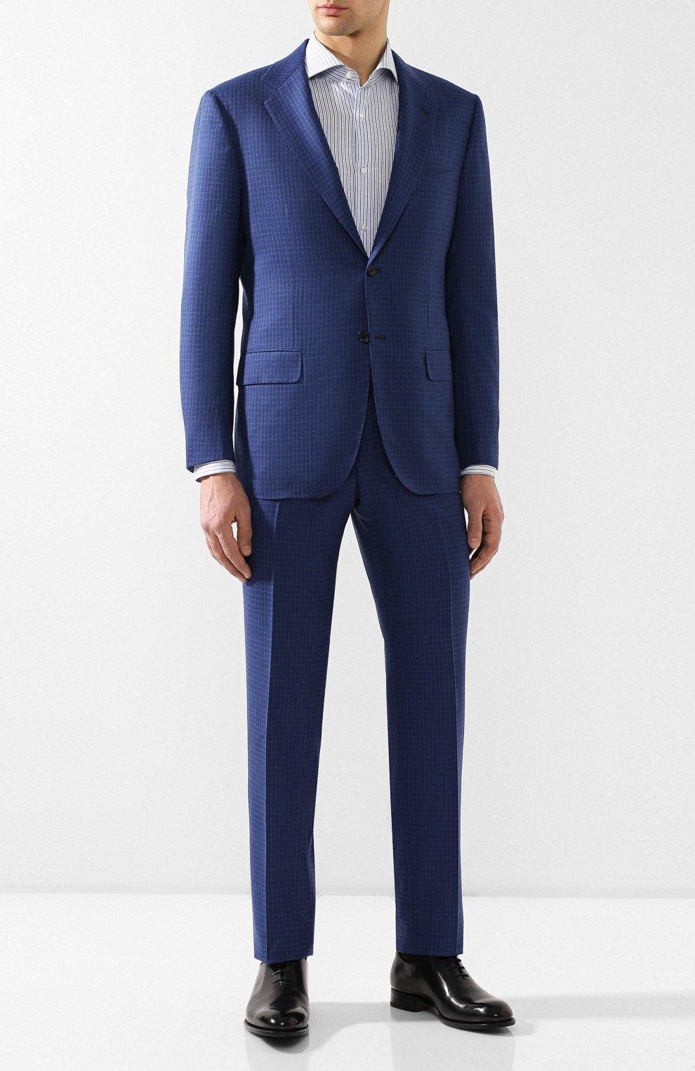8ac48ba439e Мужской синий костюм из смеси кашемира и шелка KITON — купить за ...