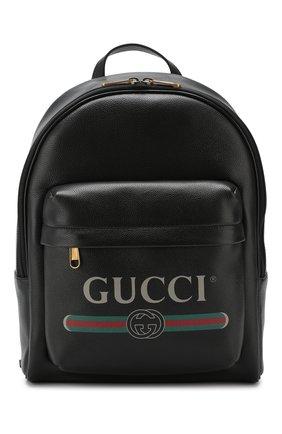 Мужской кожаный рюкзак gucci print GUCCI черного цвета, арт. 547834/0Y2BT | Фото 1