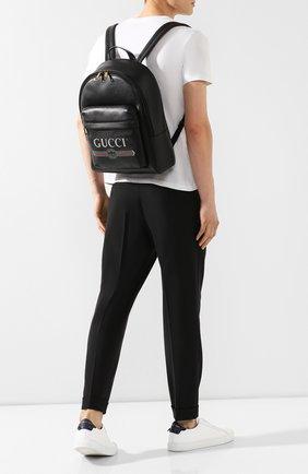 Мужской кожаный рюкзак gucci print GUCCI черного цвета, арт. 547834/0Y2BT | Фото 2