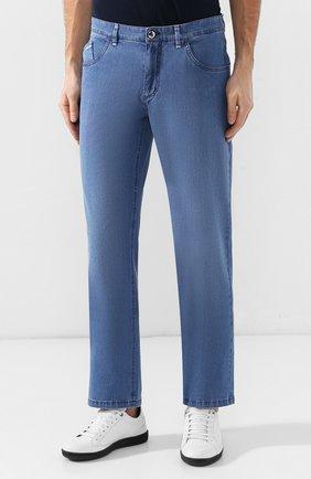 Мужские джинсы прямого кроя ZILLI голубого цвета, арт. MCR-00220-DESC1/R001/AMIS   Фото 3