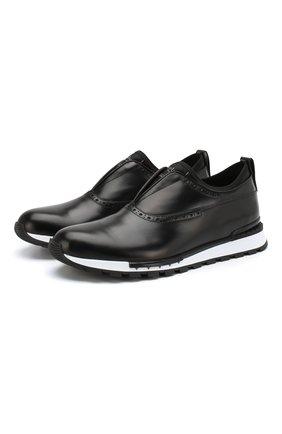 Мужские кожаные кроссовки BERLUTI черного цвета, арт. S4675-002 | Фото 1
