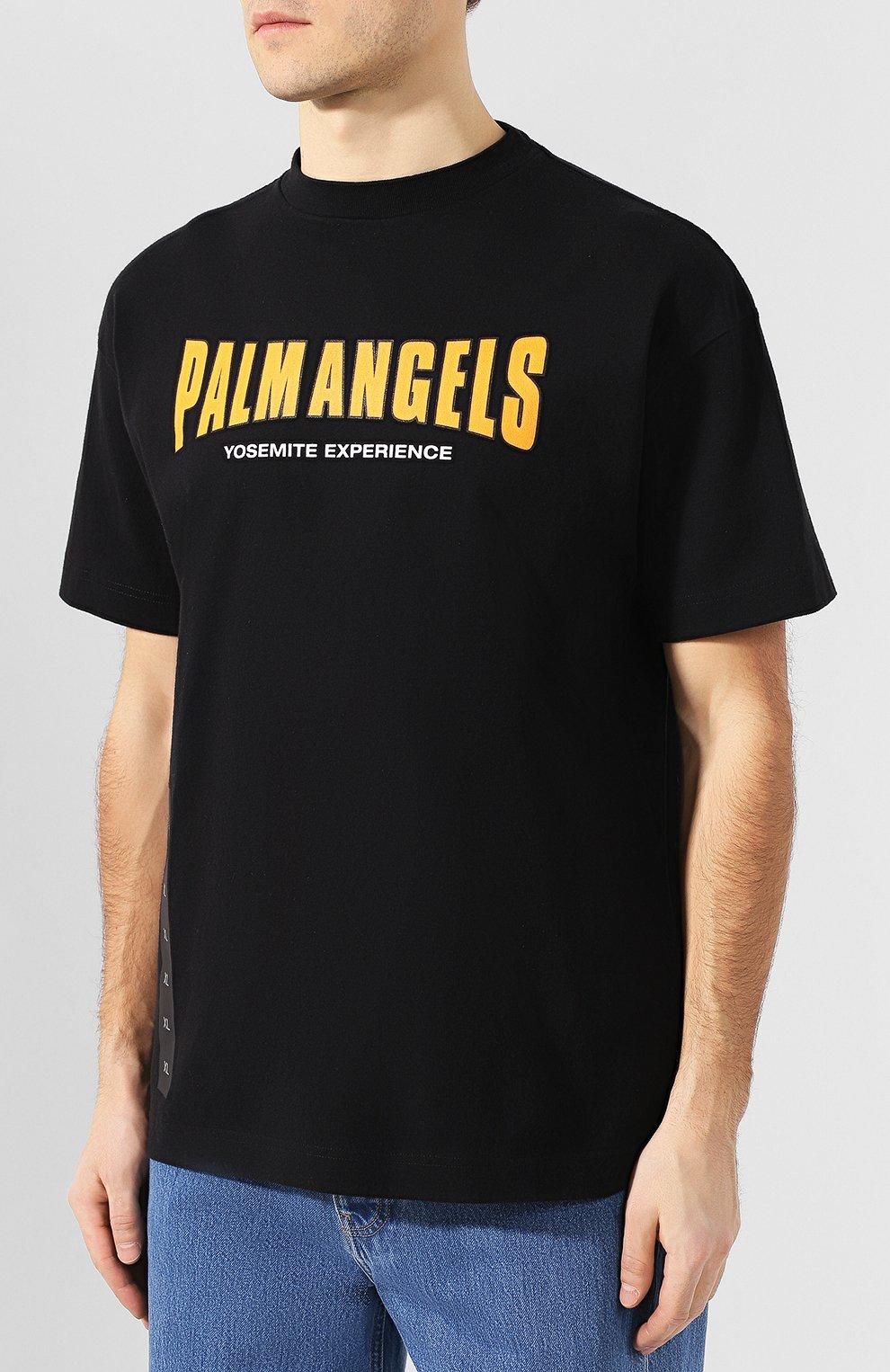 Хлопковая футболка Palm Angels черная   Фото №3