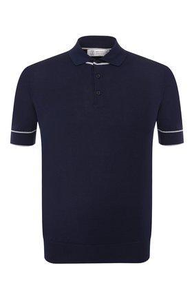 Мужское хлопковое поло BRUNELLO CUCINELLI темно-синего цвета, арт. M29800815 | Фото 1