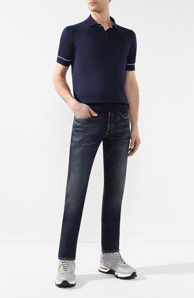 Мужское хлопковое поло BRUNELLO CUCINELLI темно-синего цвета, арт. M29800815 | Фото 2