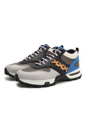 Мужские комбинированные кроссовки cesare ZEGNA COUTURE серого цвета, арт. A4140X-STW | Фото 1