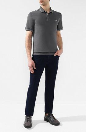 Мужское хлопковое поло  Z ZEGNA серого цвета, арт. VS370/ZZ600 | Фото 2