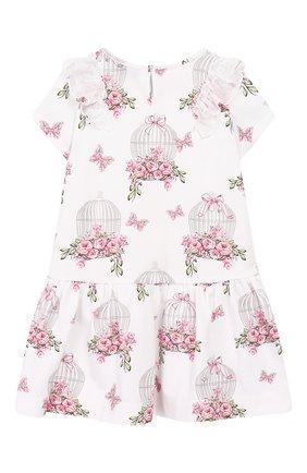 Женский хлопковое платье MONNALISA белого цвета, арт. 313917 | Фото 2
