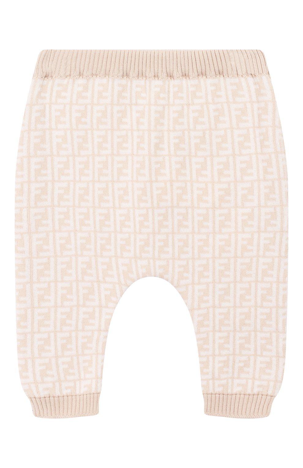 Детские брюки из хлопка и кашемира FENDI бежевого цвета, арт. BUG008/A3TE/1M-9M | Фото 1