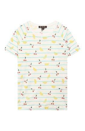 Детская льняная футболка LORO PIANA разноцветного цвета, арт. FAI4846 | Фото 1