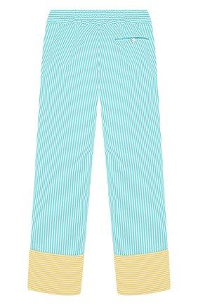 Детского хлопковые брюки LORO PIANA бирюзового цвета, арт. FAI4819   Фото 2