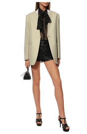 Женские кожаные босоножки tribute SAINT LAURENT черного цвета, арт. 315490/BDA00 | Фото 2