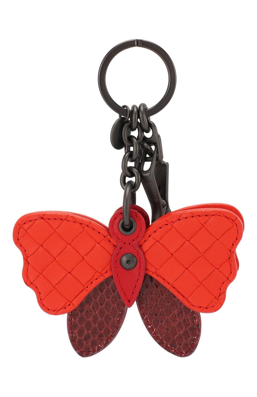 Кожаный брелок для ключей Bottega Veneta бордовый | Фото №2