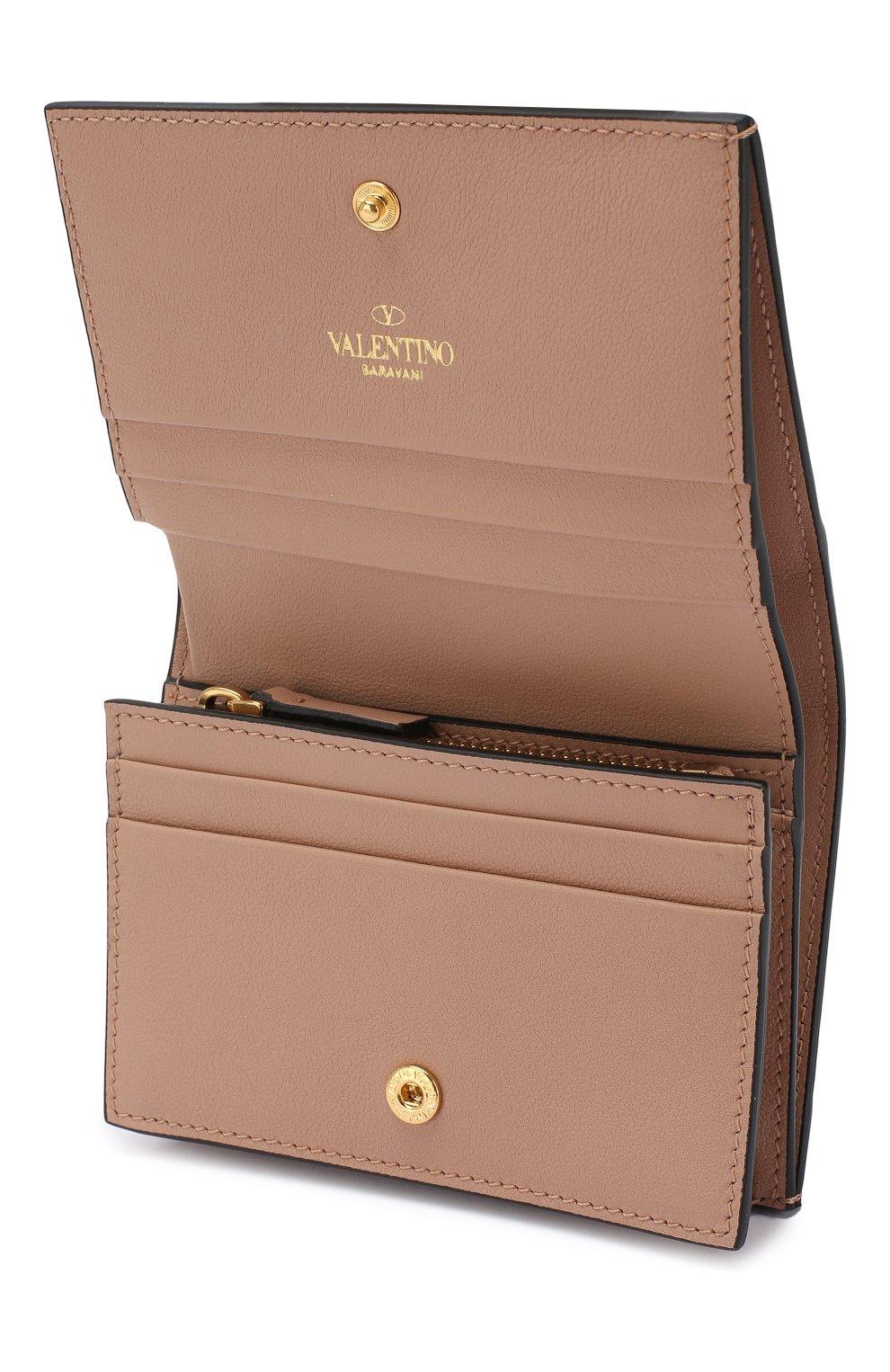 Кожаное портмоне Valentino Garavani Valentino бежевого цвета | Фото №3