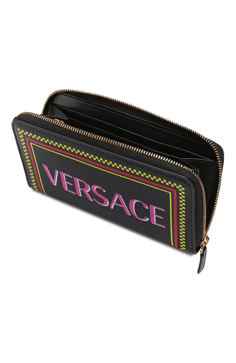 Кожаный кошелек Versace черного цвета   Фото №3