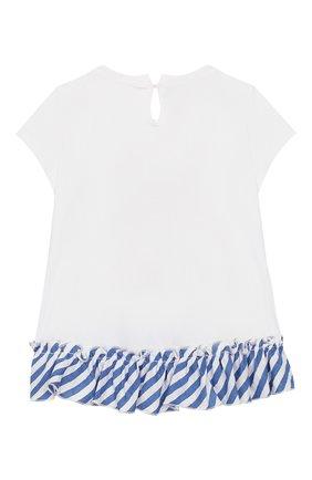 Детский хлопковая футболка MONNALISA голубого цвета, арт. 313614SD | Фото 2