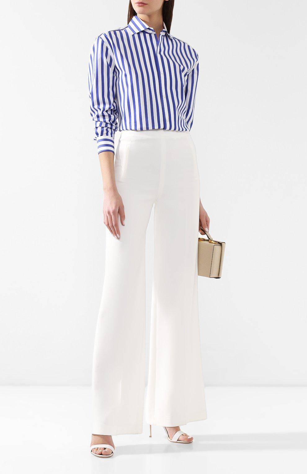Женская хлопковая рубашка в полоску RALPH LAUREN белого цвета, арт. 290649380 | Фото 2