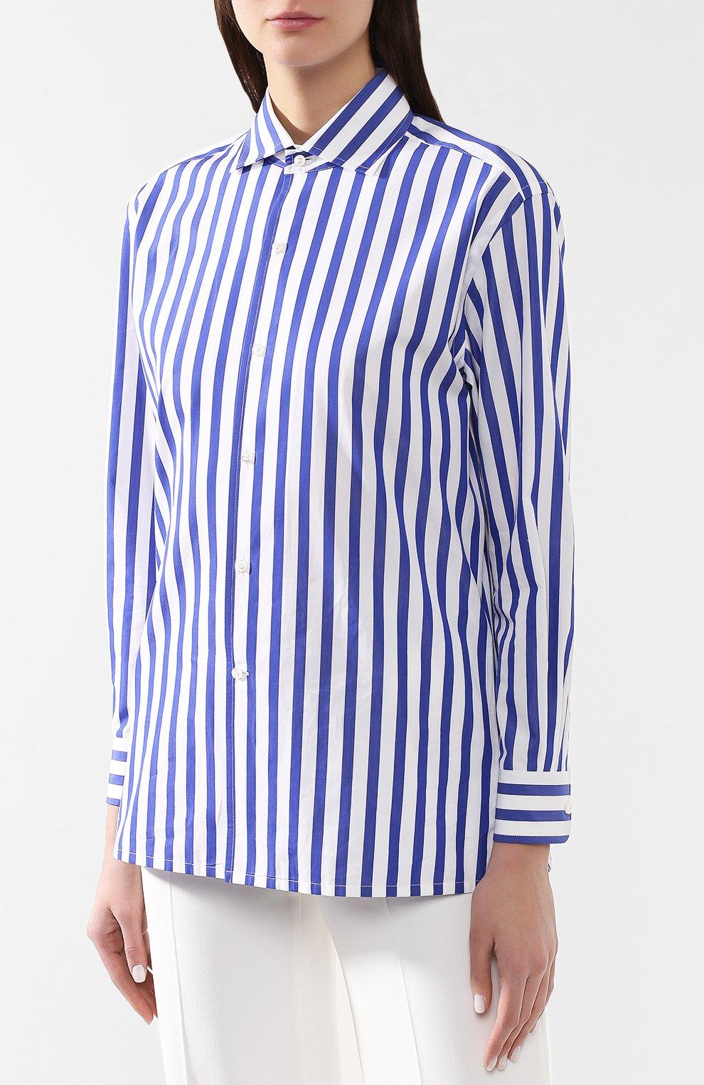 Женская хлопковая рубашка в полоску RALPH LAUREN белого цвета, арт. 290649380 | Фото 3