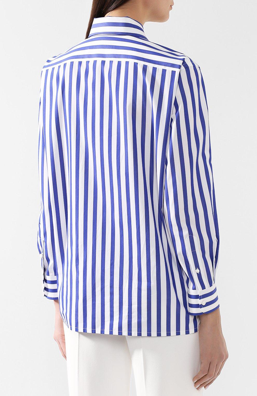 Женская хлопковая рубашка в полоску RALPH LAUREN белого цвета, арт. 290649380 | Фото 4