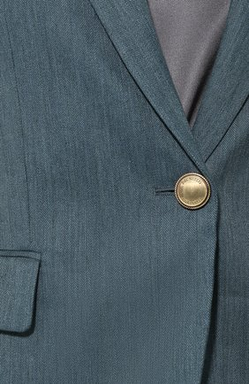 Жакет из хлопка и льна Brunello Cucinelli темно-зеленый | Фото №5