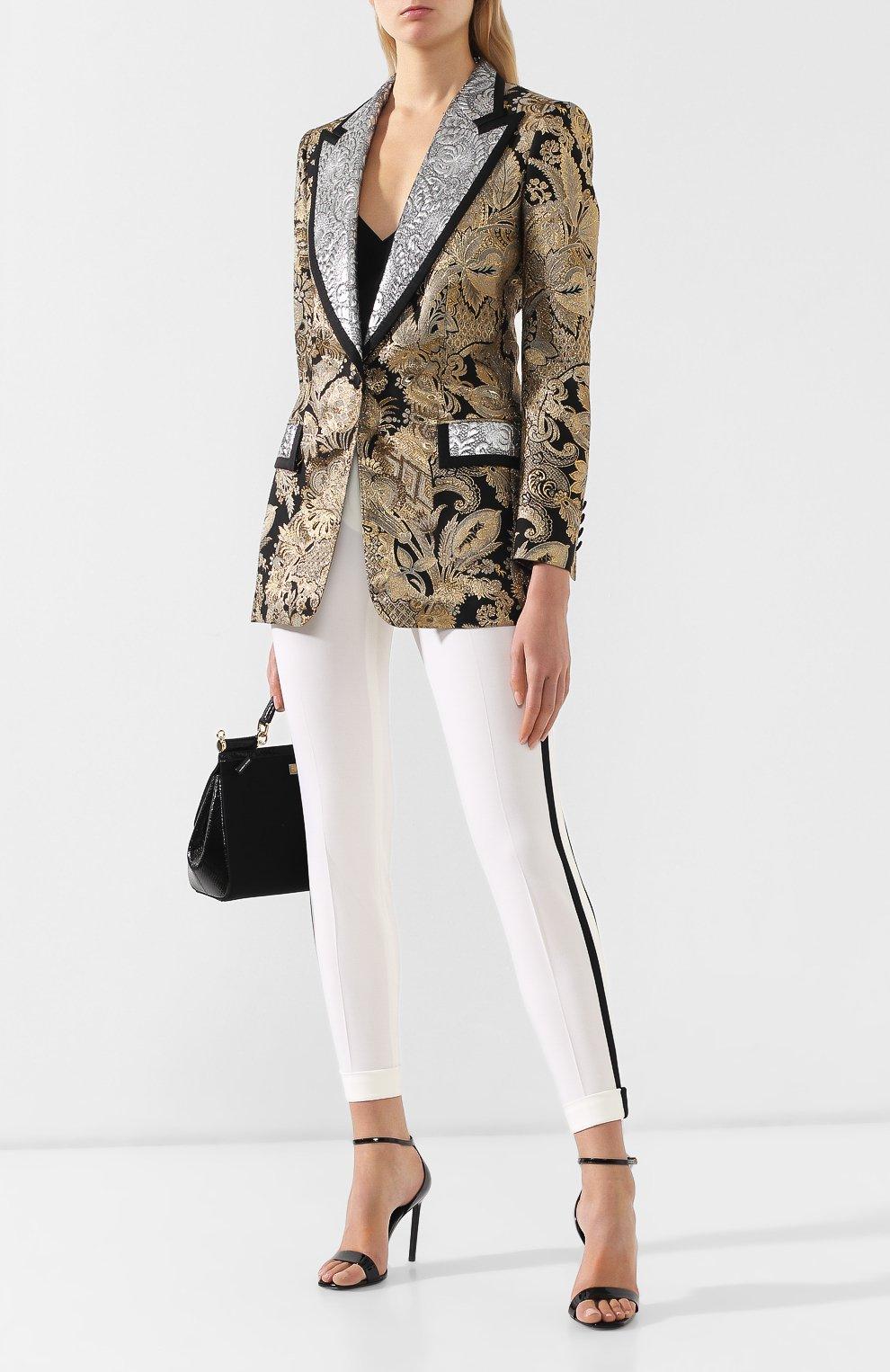 Жаккардовый жакет Dolce & Gabbana золотой   Фото №2